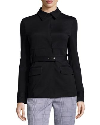 Treeca Check Straight-Leg Pants & Galilania Knit Belted Jacket