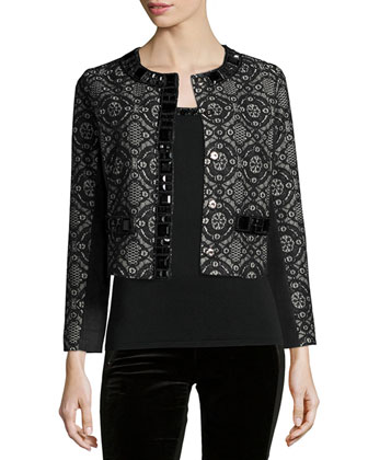 Dressy Cropped Jacket W/ Stone Trim, Women's