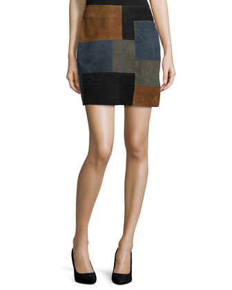 Patchwork Leather Mini Skirt, Multi Colors