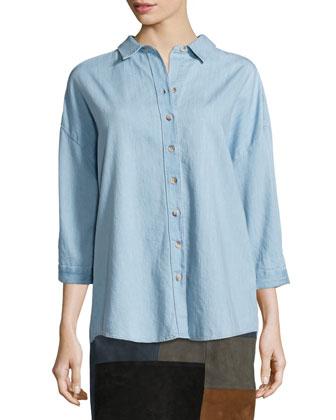 Poets 3/4-Sleeve Shirt & Patchwork Mini Skirt