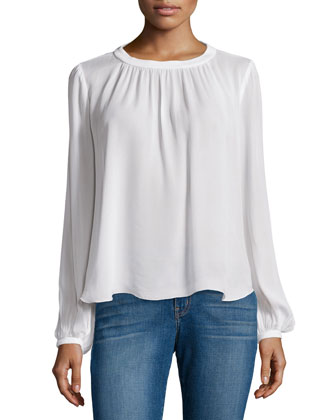 Ines Matte Crepe Top, Ivory