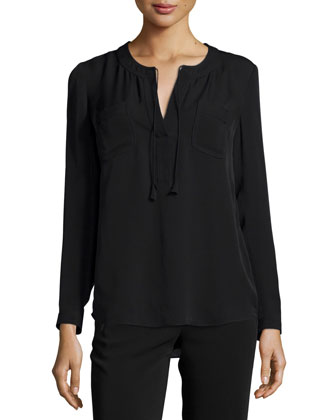 Long-Sleeve Sofia Silk Blouse, Black