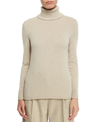 Turtleneck Sweater with Drop-Needle Hem