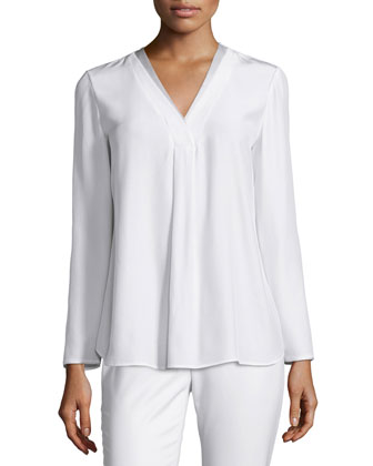 Libby Long-Sleeve V-Neck Blouse