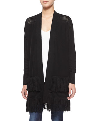 Fringe Open-Front Silk Cardigan, Black