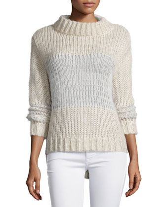 Cobweb Funnel-Neck Sweater, Ivory