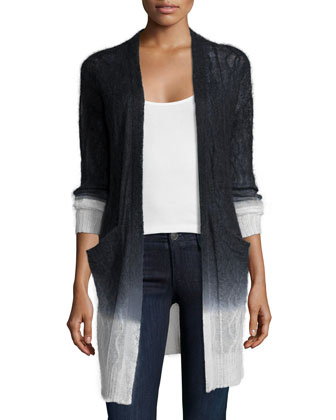 Long-Sleeve Ombre Cardigan, Black/Ivory