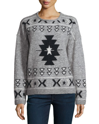 Fluffy Tribal-Print Sweater, Gray