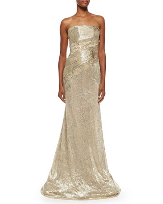 Strapless Metallic Ruched Gown