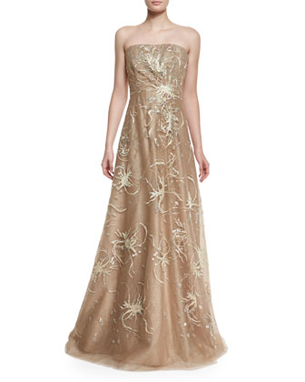 Strapless Embroidered Gown, Gold