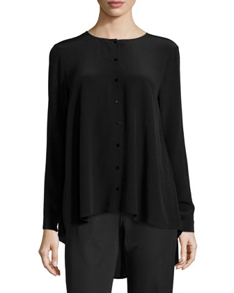 Long-Sleeve Crepe de Chine Blouse