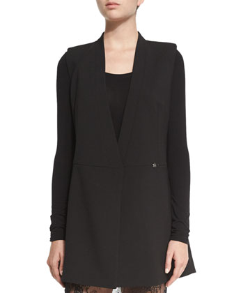 Caryn Double-Breasted Long Vest, Black
