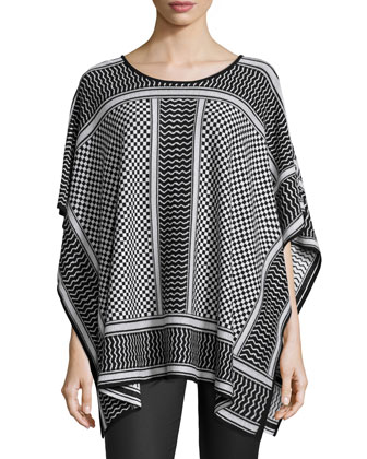 Jayde Mixed-Pattern Knit Poncho