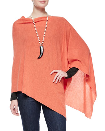 Merino Wool Links Poncho & Long-Sleeve Jersey Cozy Tee