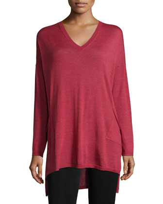 V-Neck Merino Box Top with Pockets