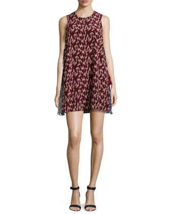 Dayne Sleeveless Dress W/Tassel Detail, Black Cherry/Mineral Blue