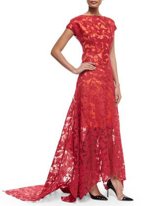 Cap-Sleeve Miriam Leaf-Lace Gown, Magnolia