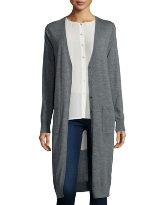 Ultrafine Merino Long Cardigan & Long-Sleeve Crepe de Chine Blouse