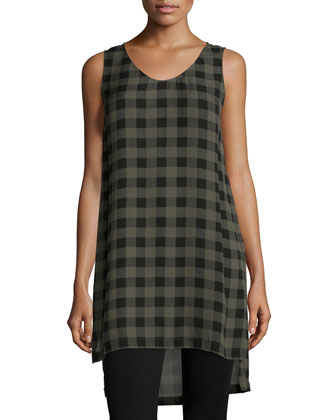 Sleek Tencel??/Merino Top, Sleeveless Buffalo Check Silk Tunic & Slim Ponte ...