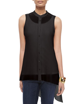 Sleeveless Mandarin-Collar Sheer Tunic