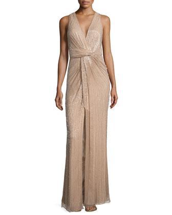 Monarch Sleeveless V-Neck Sequined Gown