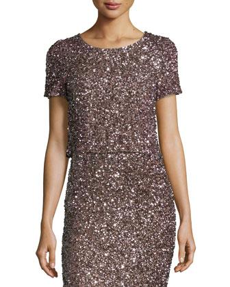 Chrissy Short-Sleeve Sequin Crop Top