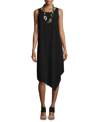 Sleeveless Crepe Asymmetric Dress