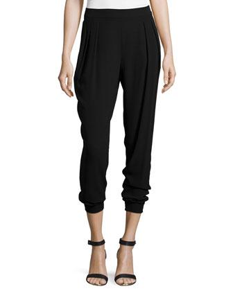 Georgette Crepe Pleated Ankle Pants