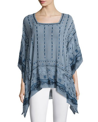 Petra Embellished Tunic Top, Blue Moon