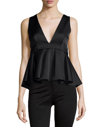 Future Starts Peplum Top, Black