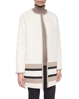 Divina Coat W/ Contrast Trim, Long-Sleeve Cotton-Cashmere Turtleneck & ...