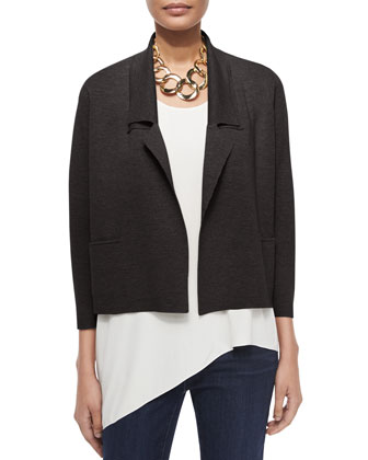 Interlock Boxy Short Jacket, Silk Asymmetric Draped Shell & Organic Soft ...