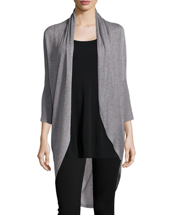 Sleek Knit Long Cocoon Cardigan