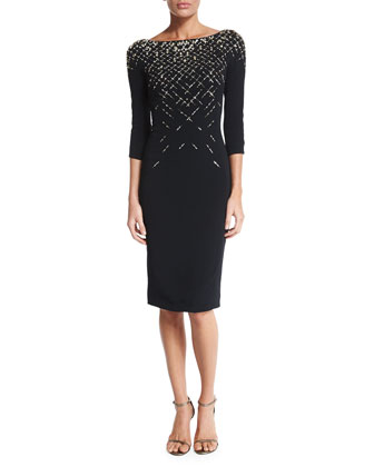 3/4-Sleeve Embellished Cocktail Dress, Black