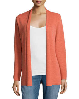 Merino Rib-Mix Shaped Cardigan, Petite