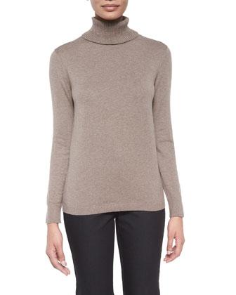 Divina Coat W/ Contrast Trim, Long-Sleeve Cotton-Cashmere Turtleneck & ...