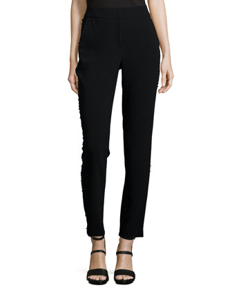 Tuxedo Beaded Slim Crop Pants