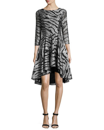 Zebra-Print High-Low Dress