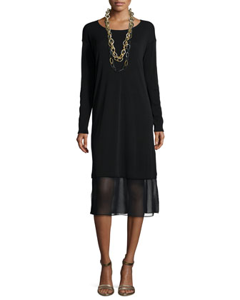 Long-Sleeve Knee-Length Dress W/ Chiffon Hem
