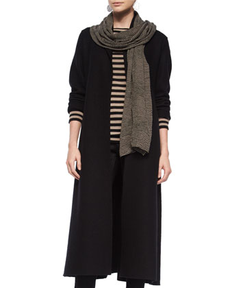 Long Shawl Wool Coat, Striped Merino Wool Long-Sleeve Top, Striped Scarf & ...