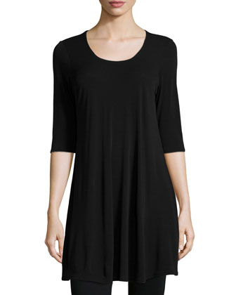 Half-Sleeve Silk Jersey Tunic & Stretch Ponte Leggings, Petite