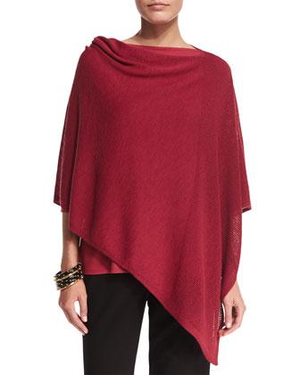 Washable Wool-Stitch Poncho, Lightweight Jersey Top, Silk Shibori Tempo ...