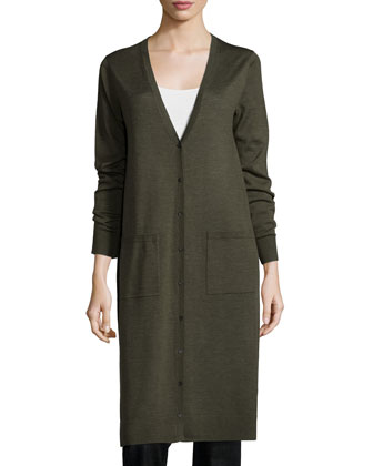 Ultrafine Merino Long Cardigan, Organic Cotton Slim Tank & Stretch ...