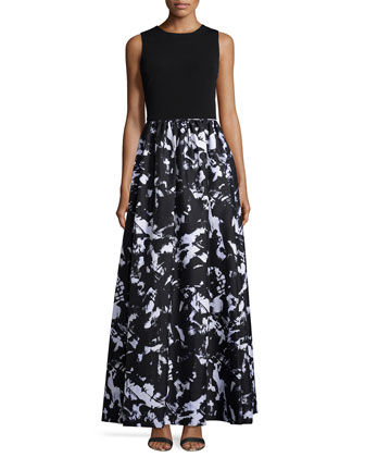 Sleeveless Combo Printed Gown