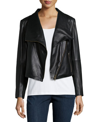 Fisher Project Lambskin Leather Moto Jacket, Silk Jersey Long Slim Camisole ...