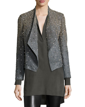 Oliver Studded Leather Jacket, Joleen Silk Pullover Top & Lamb Leather ...