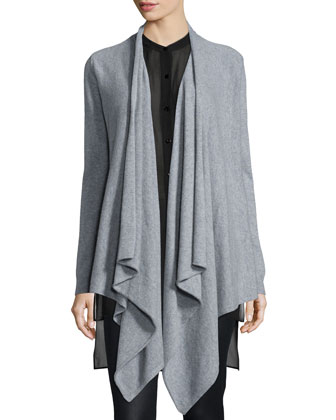 Fisher Project Cashmere Cascade Cardigan, Silk Georgette Tunic W/ Step Hem ...