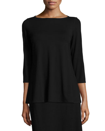 3/4-Sleeve Lightweight Jersey Top & Knee-Length Flared Skirt, Petite