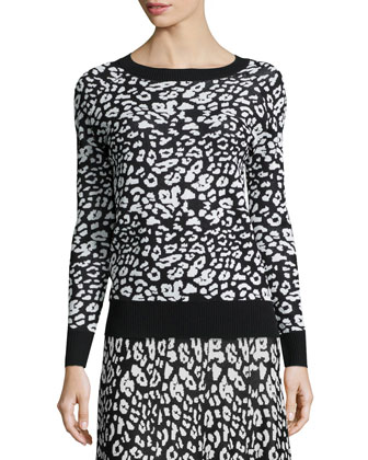 Leopard-Print Jacquard Long-Sleeve Top & Slim Pencil Skirt
