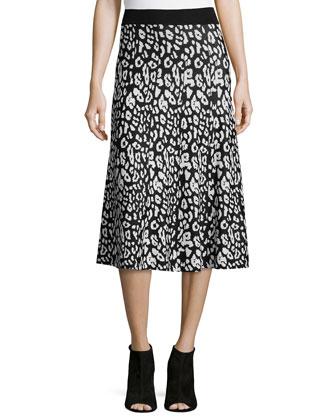 Birdseye Jacquard Midi Skirt